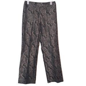 Black pants with gray paisley brocade NWOT